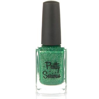 Emerald Green Nail Polish (VT100) with Gold Micro Glitter